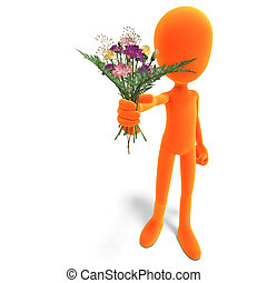 symbolic 3d male toon character give you flowers. 3D rendering with clipping path and shadow over white