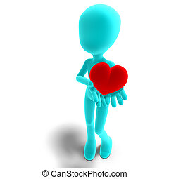 symbolic 3d male toon character holds his heart in his hands. 3D rendering with clipping path and shadow over white