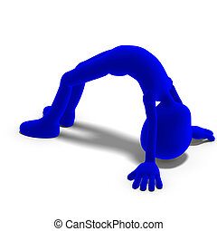 symbolic 3d male toon character is very flexible. 3D...