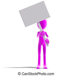 symbolic 3d male toon character show something with a blank ...