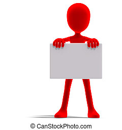 symbolic 3d male toon character show something with a blank...