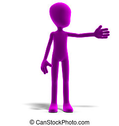 symbolic 3d male toon character show us the direction. 3D rendering with clipping path and shadow over white