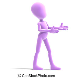 symbolic 3d male toon character show us the direction.3D rendering with clipping path and shadow over white