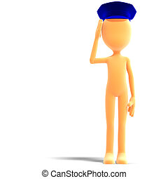 symbolic 3d male toon character with police hat. 3D rendering with clipping path and shadow over white