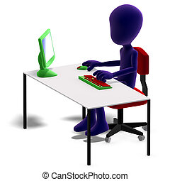 symbolic 3d male toon character working with a computer. 3D rendering with clipping path and shadow over white