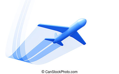 symbolic airplane take off, isolated 3d render