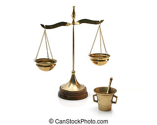 Symbolic alchemist tools - Isolated balance and mortar