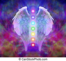Symbolic Angel wings and seven chakras on colorful background