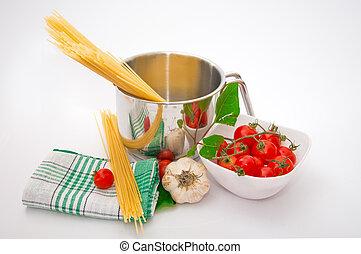 Symbolic arrangement of the Italian cuisine - pasta.