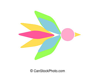 Abstract bird illustration in pastel bright colors