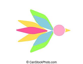Symbolic bird figure - Abstract bird illustration in pastel...