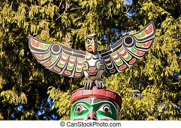Symbolic Canadian Native Totem Poles