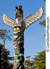 Symbolic Canadian Native Totem Poles