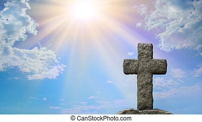 Symbolic Cross with Sun beaming down