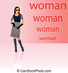Symbolic figure  of stylish woman