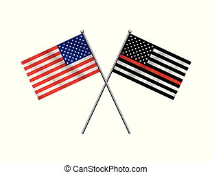 Symbolic Firefighter Support American Flag Illustration