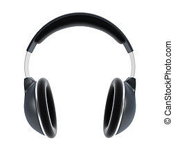symbolic headphones, isolated 3d rendering