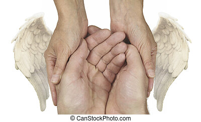 Symbolic Helping Hands - Cupped male hands held gently by...