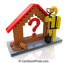Symbolic house with a question mark - Concept of construction