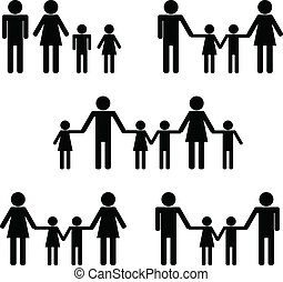 Symbolic Icon People Families: Hetero, Homosexual, Patchwork...
