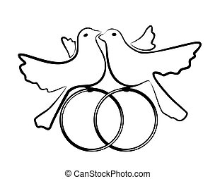 symbolic illustration of two pigeons and wedding rings