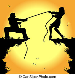 tug of war between man and woman - symbolic illustration,...