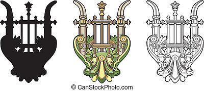 Symbolic lyre - A music symbol vector illustration, EPS file...