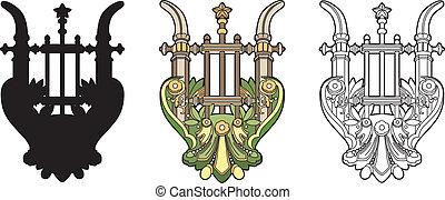 Symbolic lyre - A music symbol vector illustration, EPS file...
