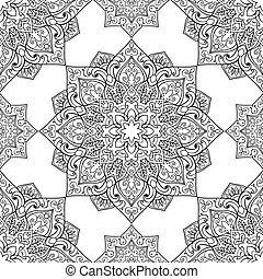 Symbolic pattern of mandala. - Seamless pattern of symbolic...