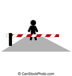 barrier  - Symbolic person beside close barrier on road