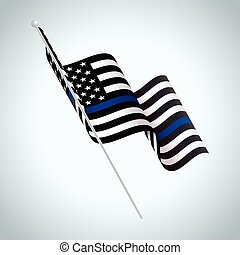 Symbolic Police Support American Flag Illustration