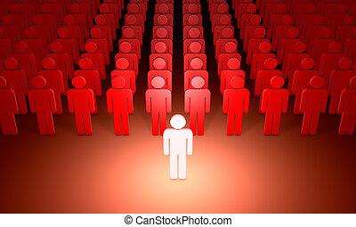 (symbolic, rendering., 3d, people)., ilustración, figuras, líder