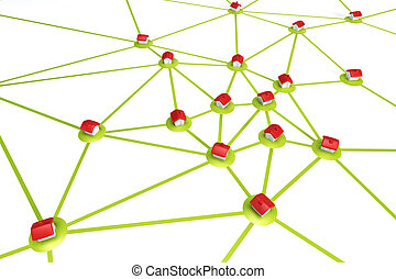 symbolic settlement network , isolated 3d render