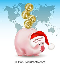 Symbolic shiny metal golden coins with numbers 2019 falling into money pig bank. Santa Claus hat with greetings. Conceptual realistic vector illustration on background with world map.