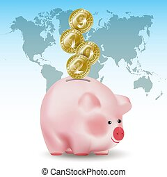 Symbolic shiny metal golden money coins with new year numbers 2019 falling into money pig bank. Conceptual realistic vector illustration on blue background with world map.