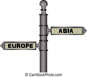Symbolic signpost Europe - Asia