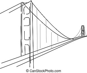 Symbolic sketch of Golden Gate in San francisco - bridge silhouette