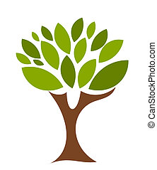 Symbolic tree with single leaves vector illustration