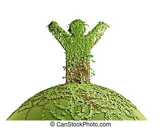 symbolic tree man on the planet, 3d render