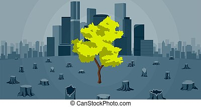 Symbolic vector illustration of deforestation due to ...