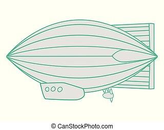 symbolic, vector illustration of dirigible