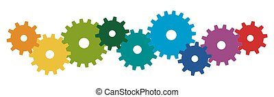 symboliek, gekleurde, samenwerking, toestellen