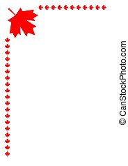 symboliek, vlag, blad, canadees, frame, hoek, rood