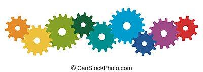 symbolik, gefärbt, zuammenarbeit, zahnräder