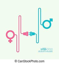 symbolika, abstrakcyjny, samiec, samica, tło
