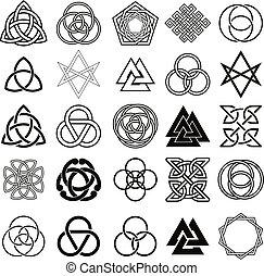 symbolika, capstrzyk, komplet, vector., ikony