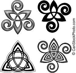 symbolika, celtycki, wektor, komplet, triskel