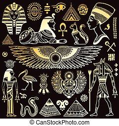 symbolika, egipt, odizolowany, komplet, wektor