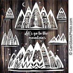 symbolika, góry, geometryczny, komplet