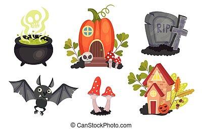 symbolika, halloween, nagrobek, komplet, święto, wektor, ...